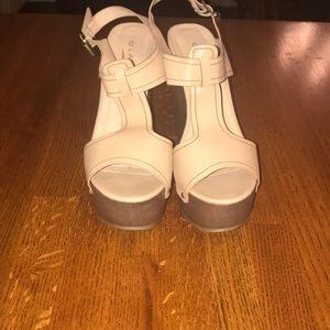 Tan platform wedges